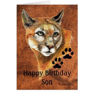 Cartão Puma do filho do feliz aniversario, puma, Ani do