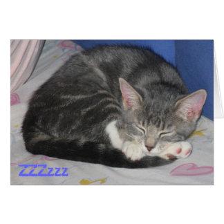 Cartão quadrado da sesta do gatinho dos mitenes