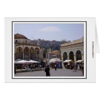 Cartão Quadrado de Monasteraki em Atenas, piscina