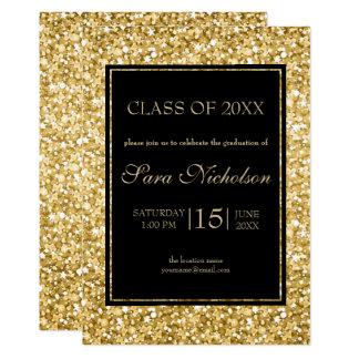 Cartão Quadro-Graduação do preto do brilho do ouro