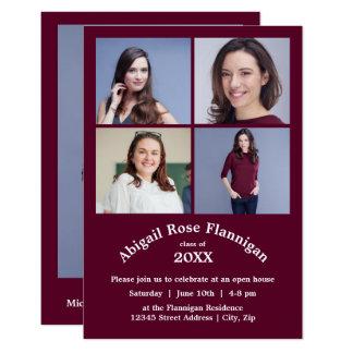 Cartão Quatro graduação de Borgonha 3x5 da colagem das