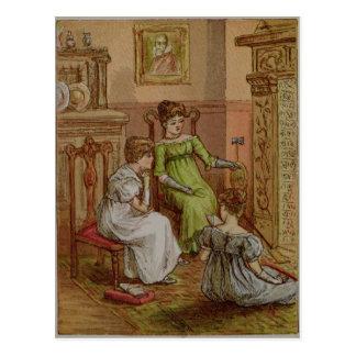 Cartão que descreve uma cena da lareira cartão postal