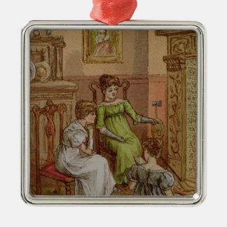 Cartão que descreve uma cena da lareira ornamento quadrado cor prata