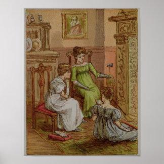 Cartão que descreve uma cena da lareira poster