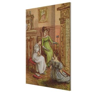 Cartão que descreve uma cena da lareira impressão em tela