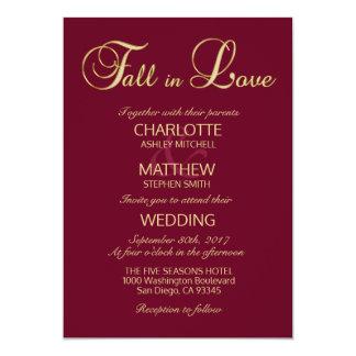 Cartão QUEDA elegante no casamento de Borgonha Marsala do