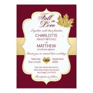Cartão QUEDA no casamento da folha de ouro de Borgonha do