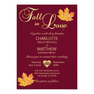 Cartão QUEDA no casamento marrom do bordo de Borgonha