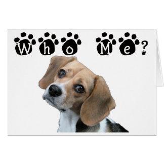 Cartão Quem mim impressão da pata do cão