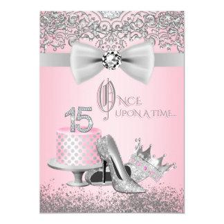 Cartão Quinceanera cor-de-rosa e de prata