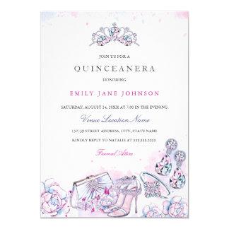 Cartão Quinceanera de cristal elegante azul cor-de-rosa