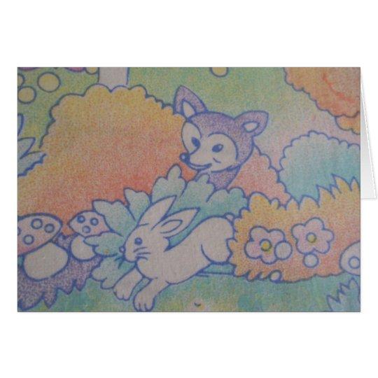 Cartão raposa e coelho