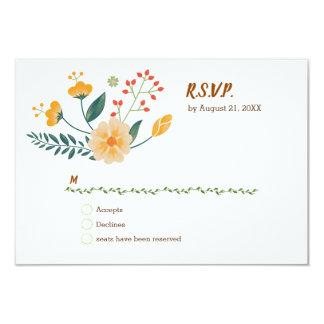 Cartão Raposas românticas e folha floral rústica RSVP