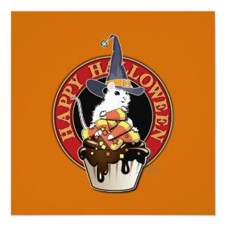 Cartão Rato feliz do branco do Dia das Bruxas