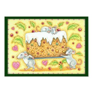 Cartão Ratos bonitos do Natal que levam uma sobremesa do
