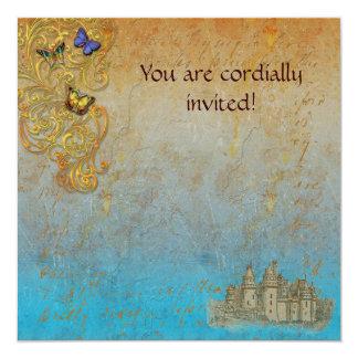 Cartão real do convite do castelo medieval do