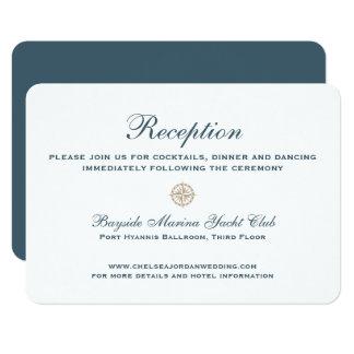 Cartão Recepção de casamento clássica náutica do rosa de