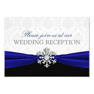 Cartão Recepção de casamento no inverno da fita azul
