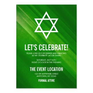 Cartão Recepção verde moderna de Mitzvah do bar do Grunge