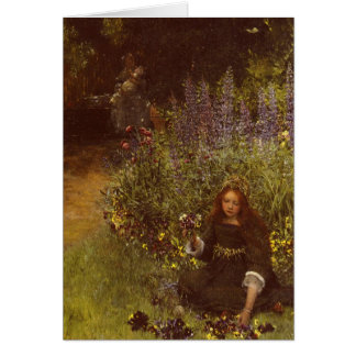 Cartão Recolhendo Pansies por Laura Teresa Alma-Tadema