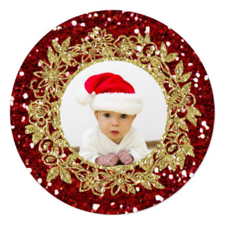 Cartão redondo do feriado da foto vermelha festiva convites