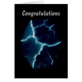 Cartão Relâmpago azul, parabéns