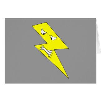 Cartão Relâmpago irritado. Amarelo no cinza