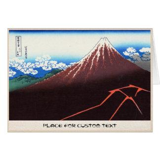 Cartão Relâmpagos abaixo da cimeira Katsushika Hokusai