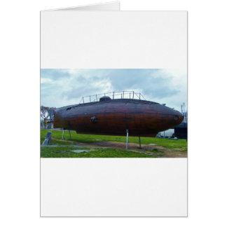 Cartão Replica. submarino de madeira histórico