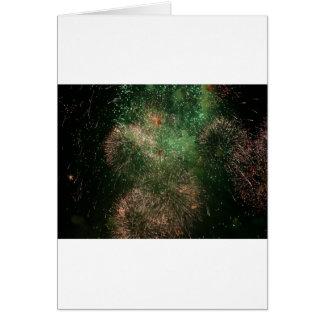 Cartão respingo verde da explosão dos fogos-de-artifício