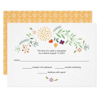 Cartão Resposta do casamento do jardim do verão