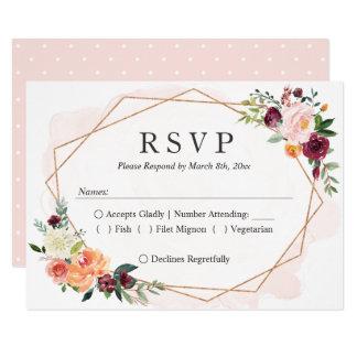 Cartão Resposta Wedding floral do quadro geométrico