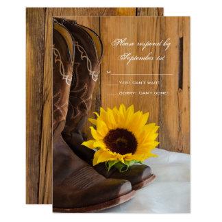 Cartão Resposta Wedding ocidental do girassol RSVP do
