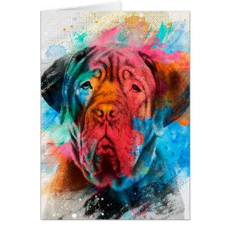 Cartão Retrato da aguarela do pop art de Dogue de Bordéus