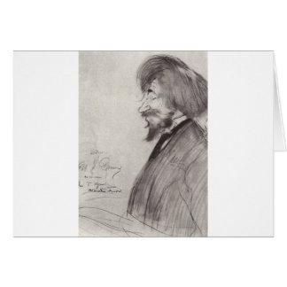 Cartão Retrato de Ilya Repin por Boris Kustodiev