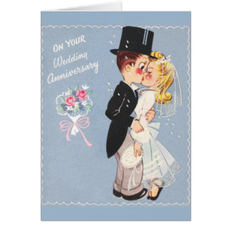 Cartão retro do aniversário de casamento
