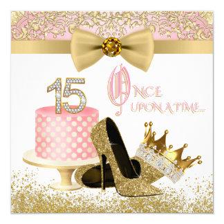 Cartão Rosa e festa de aniversário de Quinceanera do ouro