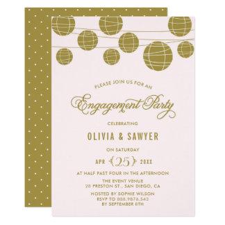 Cartão Rosa e festa de noivado das lanternas de papel do