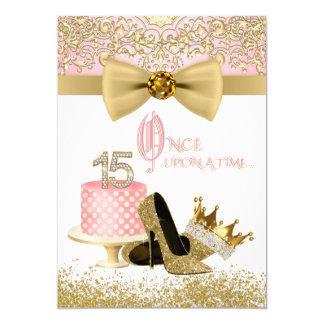 Cartão Rosa e ouro Quinceanera