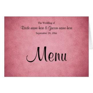 Cartão Rosa obscuro escuro menu Mottled do casamento do