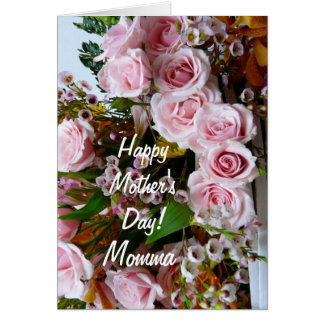 Cartão Rosas cor-de-rosa do Day-Momma/da mãe feliz