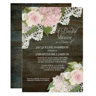 Cartão Rosas florais de madeira escuros do laço do