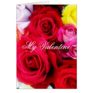 Cartão Rosas românticos do dia dos namorados que