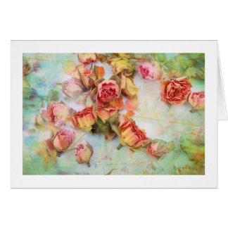 Cartão Rosas secos no vintage verde