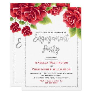 Cartão Rosas vermelhas & festa de noivado do brilho da
