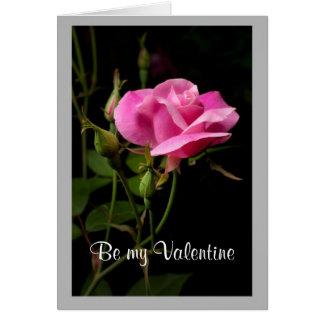 Cartão Rosebud cor-de-rosa dos namorados 16