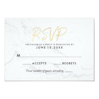 Cartão Roteiro de mármore branco moderno | RSVP Wedding