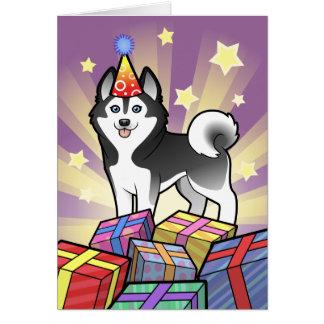 Cartão Rouco Siberian do aniversário/Malamute do Alasca