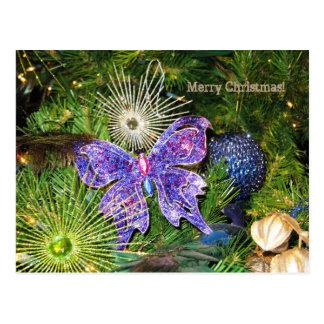 Cartão roxo da borboleta do Feliz Natal Cartão Postal