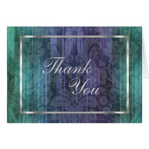 Cartão roxo da listra do damasco do verde azul